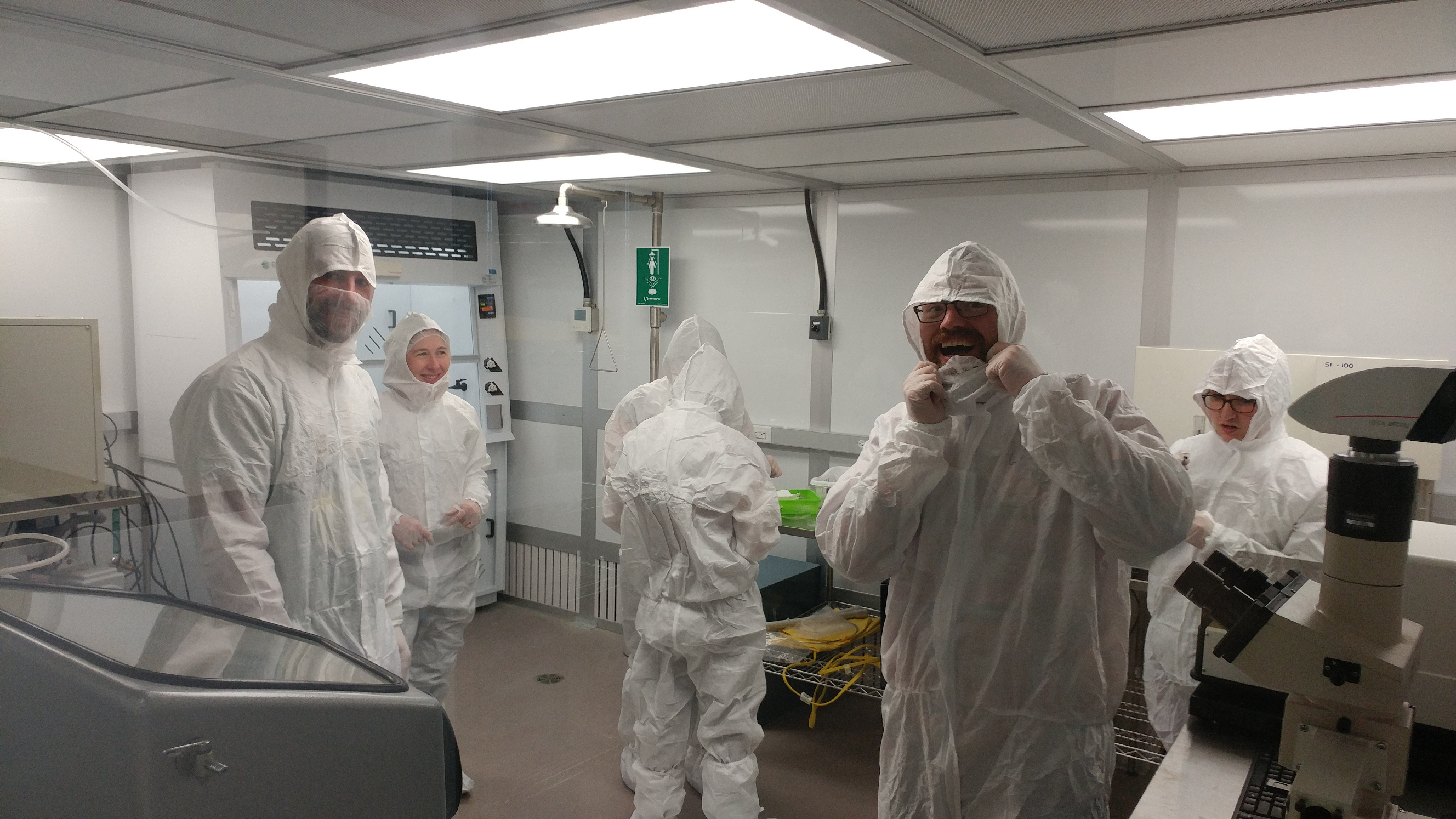 Some of the group members in our Class 1000 cleanroom